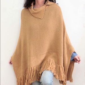 Wool Fringed Poncho Sweater